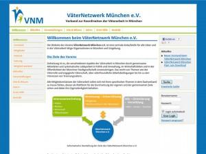 Screenshot der Website www.vaeternetzwerk-muenchen.de vor dem Re-Launch