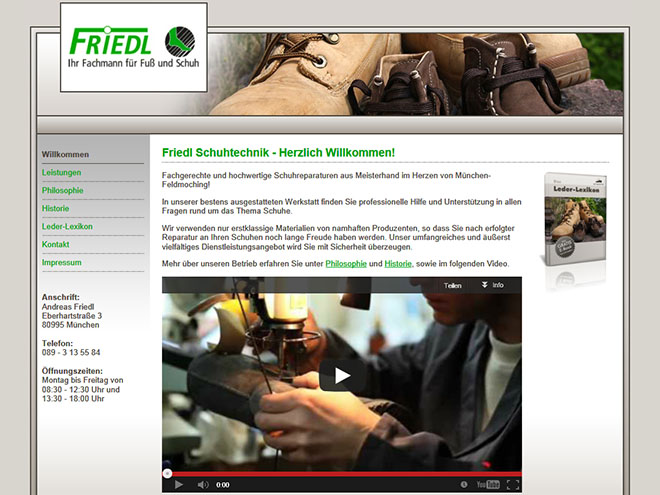 Screenshot der Website www.friedl-schuhtechnik.de