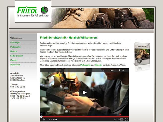Unsere neueste Kundenreferenz: Die Website von Friedl Schuhtechnik in München - www.friedl-schuhtechnik.de