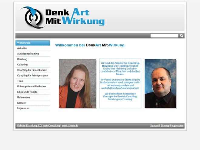 Screenshot der Website www.denkart-mit-wirkung.de