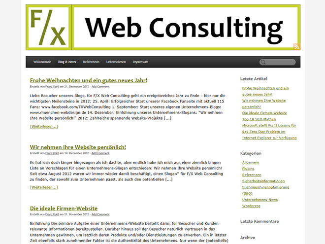Screenshot WordPress-Blog www.muenchen-webdesign.de
