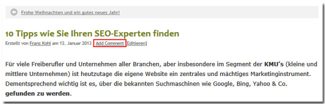 "Screenshot ""AddComment""-Text im deutschsprachigen WordPress-Blog www.muenchen-webdesign.de"