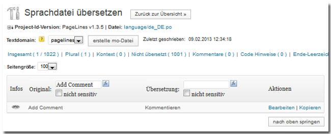 "Screenshot ""Sprachdatei übersetzen"" aus dem ""Codestyling Localization""-Plugin"