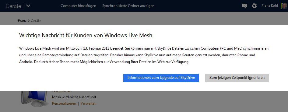 Dialog: Wichtige Nachricht für Windows Live Mesh Kunden - WLM wird am 13.02.13 beendet