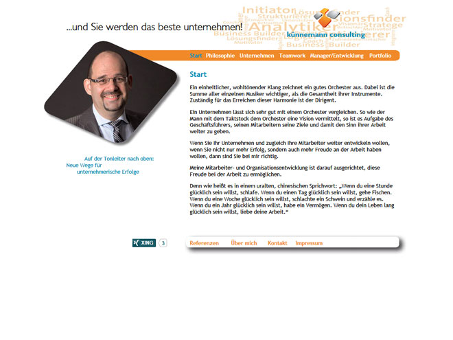 Screenshot der Website von Künnemann Consulting GmbH - www.kuennemann-consulting.de