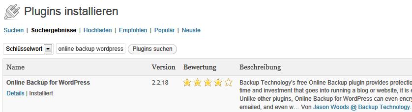 Screenshot WordPress-Plugin-Verzeichnis - Suche nach Online Backup for WordPress
