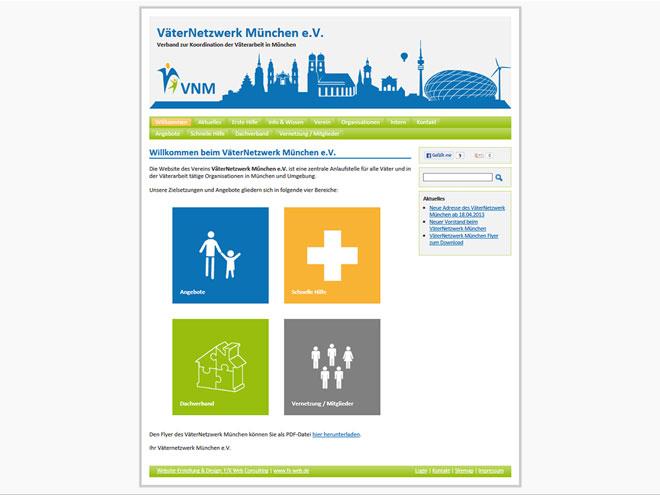 Screenshot der neu gestalteten Website des VäterNetzwerk München e.V.
