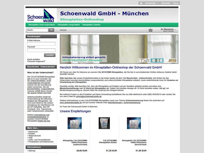 Screenshot des neuen Klimaplatten-Onlineshops der Schoenwald GmbH in München auf www.antikondensplatte.de/shop