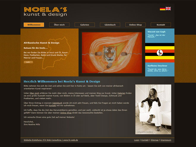 Screenshot der Website: noelaskunst-design.de
