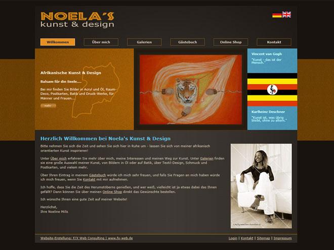 Screenshot der Website-Referenz noelaskunst-design.de - erstellt von Webdesign München | F/X Web Consulting