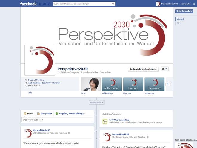 Screenshot der Facebook-Fanpage von Perspektive 2030
