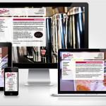 Screenshot www.bluecher-bar.de auf vier verschiedenen Bildschirmgrößen