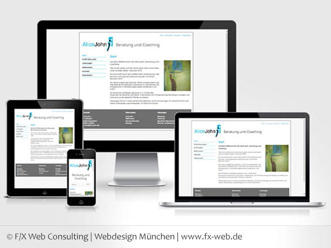 Screenshot www.alice-john.de - Responsive Web Design auf vier verschiedenen Bildschirmgrößen