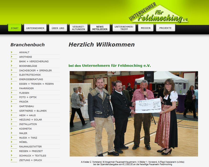 Die alte Website www.die-feldmochinger.de - weder modern noch im Responsive Webdesign