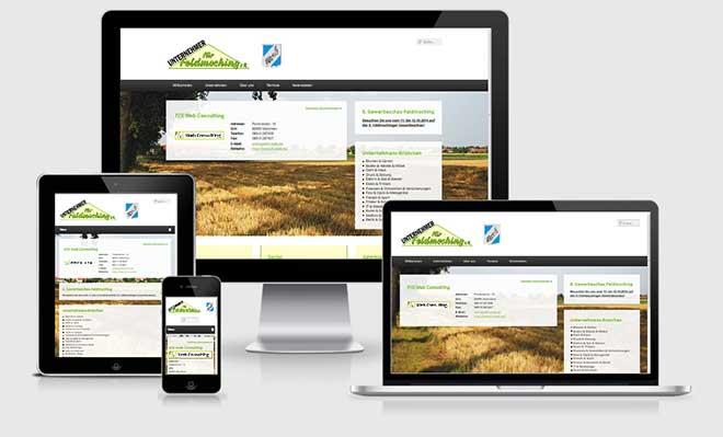 Screenshot der neuen Website der Unternehmer für Feldmoching e.V. im Responsive Webdesign