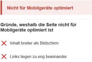 "Screenshot Google ""Nicht für Mobilgeräte optimiert"""