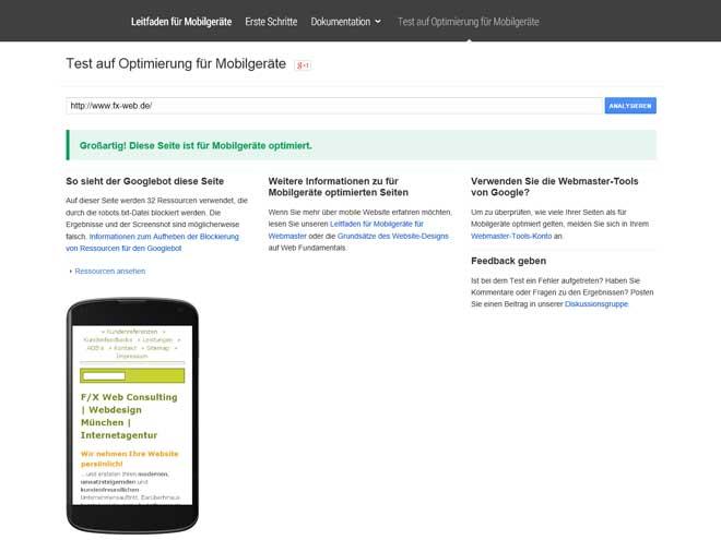 Screenshot Google: Diese Seite ist für Mobilgeräte optimiert