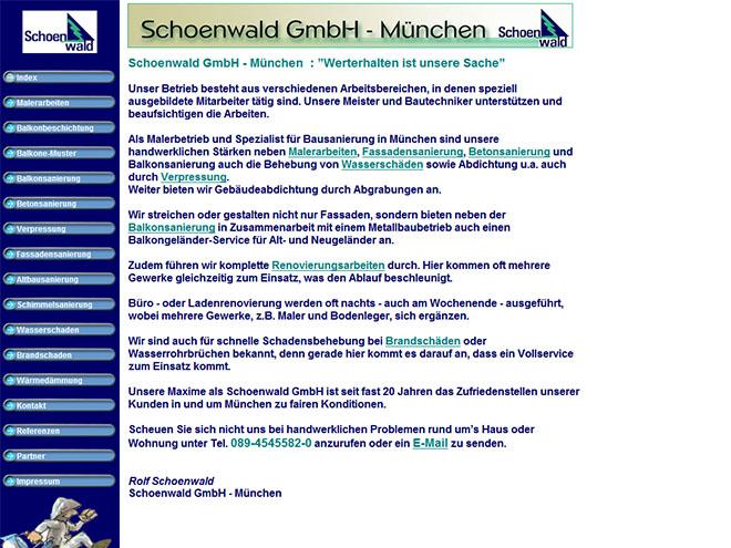 Die Website der Schoenwald GmbH München bis September 2012
