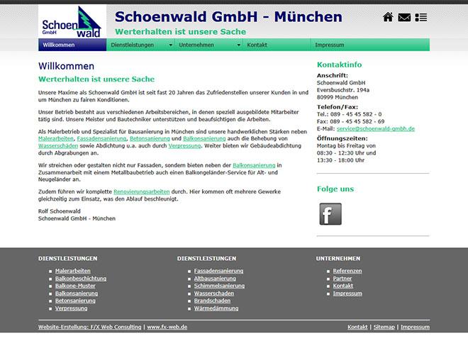 Die neue Website der Schoenwald GmbH ab Oktober 2012