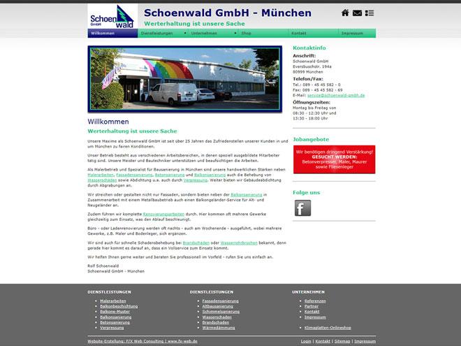Die Website der Schoenwald GmbH im September 2013