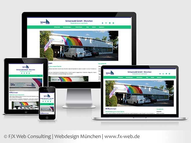 Die brandneue Website der Schoenwald GmbH nach dem Relaunch im Responsive Web Design