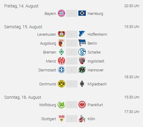 Fussball Bundesliga 2015/16 erster Spieltag - die Paarungen