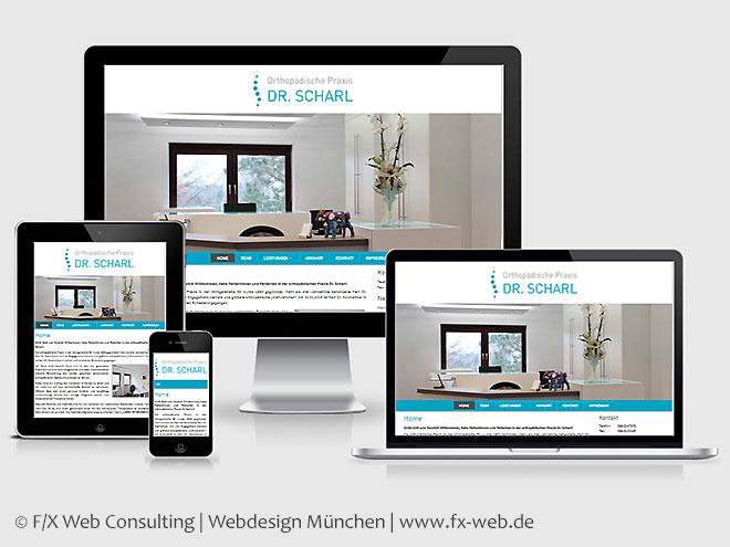 Screenshot der Kundenreferenz der Orthopädischen Praxis Dr. Scharl im Responsive Webdesign