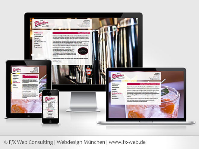 Screenshot der Kundenreferenz des Cafe Blücher im Responsive Webdesign