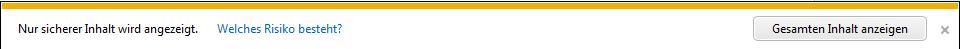 Screenshot: Internet Explorer Meldung bei Verwendung von SSL und mixed content: Nur sicherer Inhalt wird angezeigt