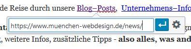 Screenshot: WordPress - Inline-Link-Auswahl (behindert die Umstellung auf SSL)