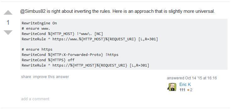 Screenshot der Antwort aus dem Orignal-Posting zur htaccess-Universal-Lösung für die Redirects auf https und mit www