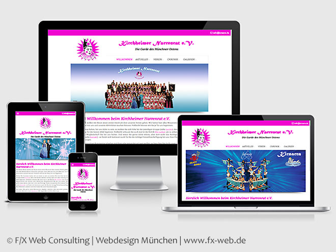 Screenshot der Website der Kirnarra nach dem Relaunch im Responsive Design