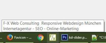 Auf der Taskbar angepinnte Website mit Tooltip beim Mouse-Hover