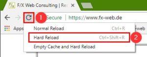 Chrome - Kontextmenü des Neu-Laden-Buttons