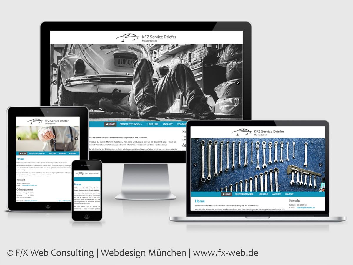 Screenshot der Website von KFZ Service Driefer im Responsive Webdesign