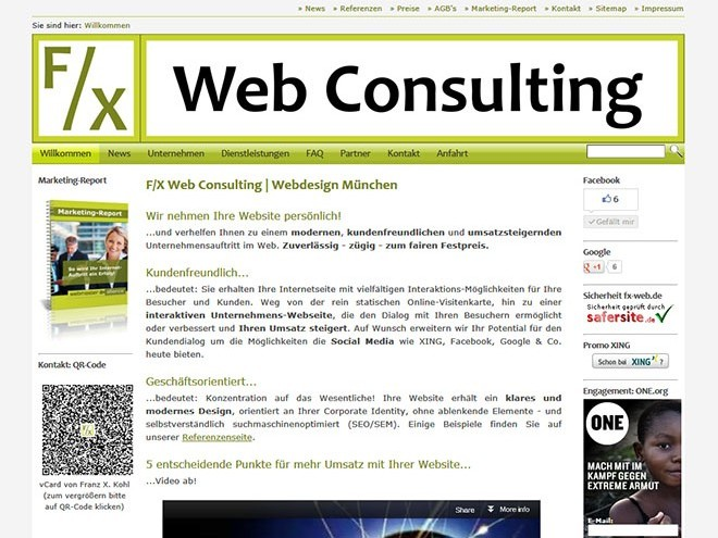Screenshot der Website von F/X Web Consulting im Juni 2011