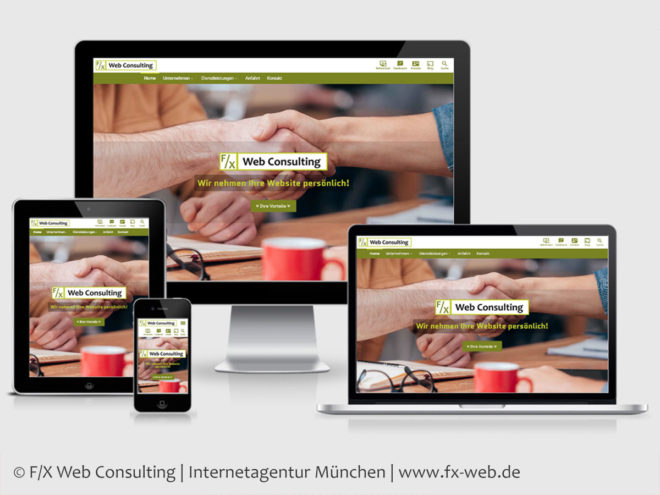 Screenshot der Website von F/X Web Consulting im im Responsive Webdesign