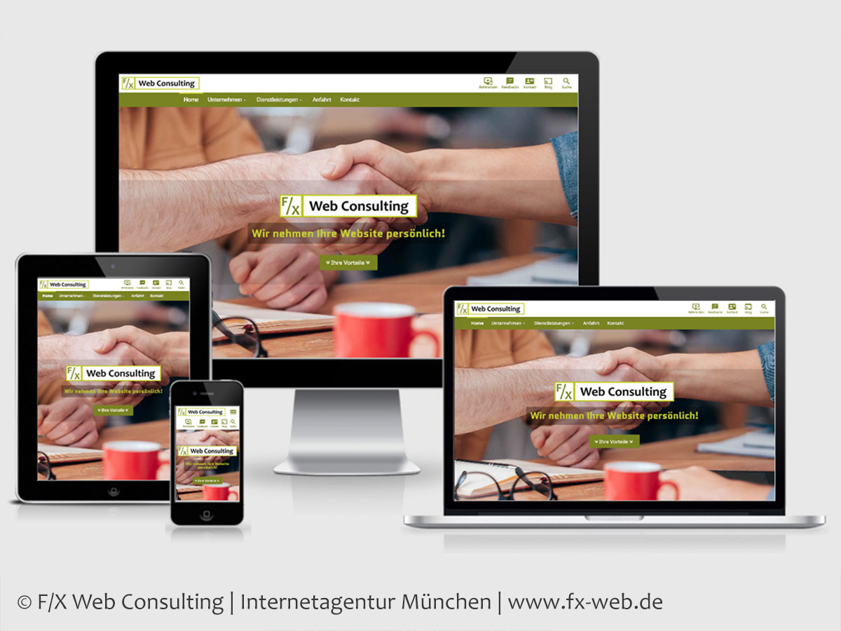 Screenshot der neuen Website von F/X Web Consulting im im Responsive Webdesign