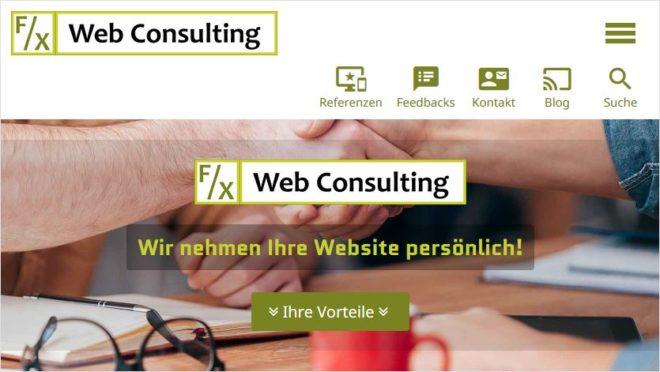 Redesign: Homepage F/X Web Consulting | Internetagentur München auf einem Apple iPhone 6s