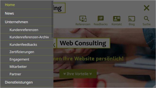 Redesign: die Homepage F/X Web Consulting | Internetagentur München auf einem Apple iPhone 6s mit geöffnetem Off-Canvas-Menü
