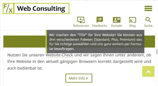 Beispiel-Tooltip auf unserer Homepage auf einem Samsung Galaxy S7