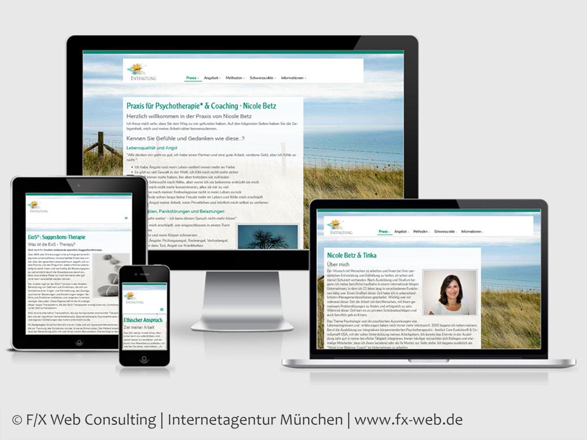 Screenshot: Relaunch der Website www.heilenundentfalten.de aus der Gesundheitsbranche im Februar 2019