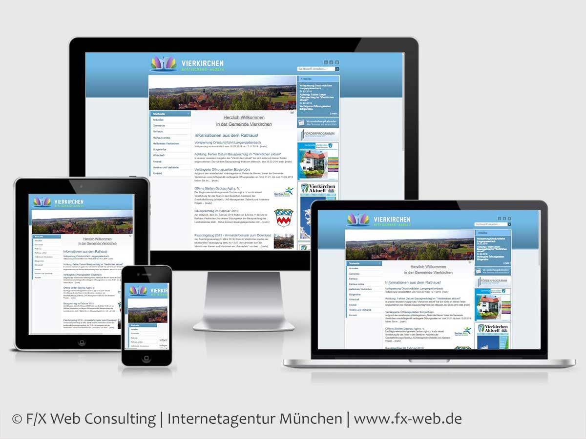 Screenshot der Website vierkirchen.de vor dem Relaunch 2019
