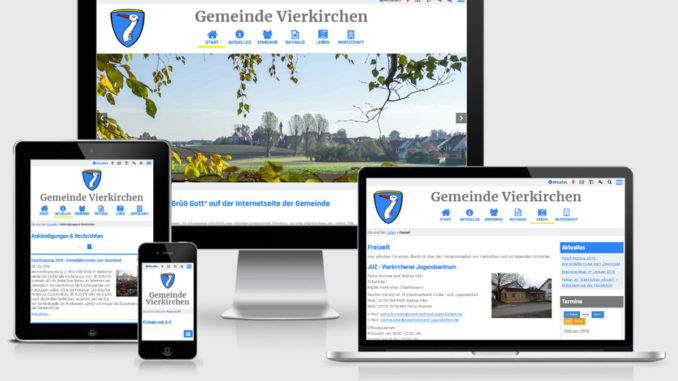 Screenshot: Relaunch der Website www.vierkirchen.de im Februar 2019
