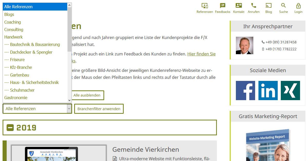 Screenshot: Neuer Branchenfilter für unsere Kundenreferenzen