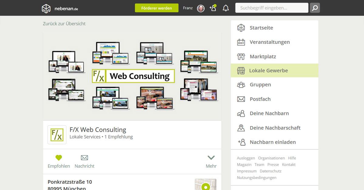 Screenshot: Gewerbeprofil von F/X Web Consulting auf nebenan.de