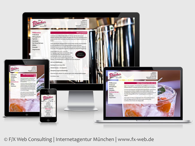 Screenshot der Website des Café Blücher