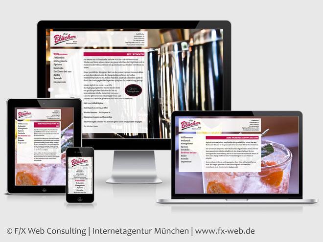 Screenshot der Website des Café Blücher