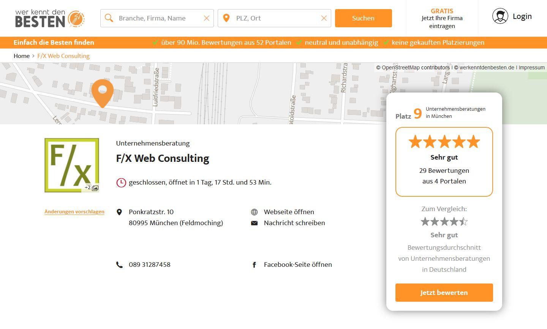 Internetagentur F/X Web Consulting auf Platz 9 der Unternehmensberatungen in München - 29 Bewertungen und Empfehlungen – werkenntdenBESTEN.de