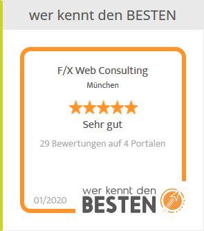 werkenntdenBESTEN.de-Bewertungssiegel auf unserer Kundenfeedback-Seite auf www.fx-web.de